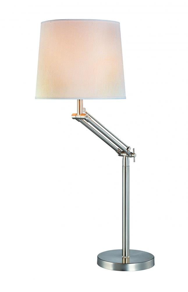 Swing Arm Table Lamp Ps Off Wht Fabric Shade Cfl 25w 3 Way Lsf