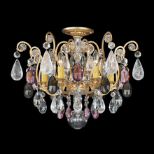 Schonbek 3584-48OS - Renaissance Rock Crystal 6 Light 110V Close to Ceiling in Antique Silver with Olivine And Smoke Topa