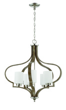 Craftmade 46725-PLNWF - Jasmine 5 Light Chandelier in Polished Nickel and Weathered Fir