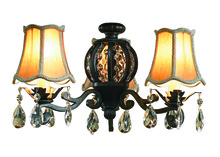 Craftmade ECK898AG - Antoinette 3 Light Kit with Silk Shades and Crystals in Aged Bronze Textured
