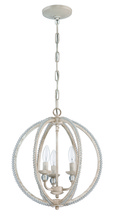 Jeremiah 1043C-ATL - 3 Light Mini Chandelier in Antique Linen