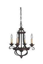 Jeremiah 38724-AGTB - Stafford 4 Light Chandelier in Aged Bronze/Textured Black