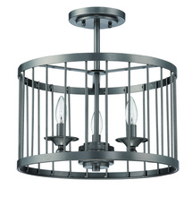 Jeremiah 39453-BKI - Villa 3 Light Cage Semi Flush in Black Iron
