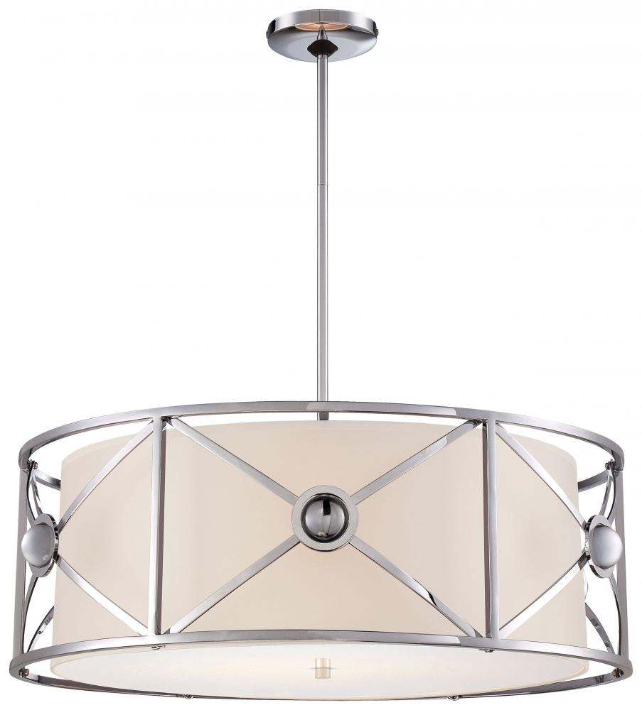 Four light chrome white linen shade drum shade pendant n6905 77 four light chrome white linen shade drum shade pendant aloadofball Image collections