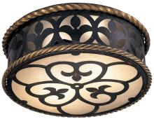 Minka Metropolitan n6109-20 - French Black W/gold Highlights Double French Scavo Glass Drum Shade Flush Mount