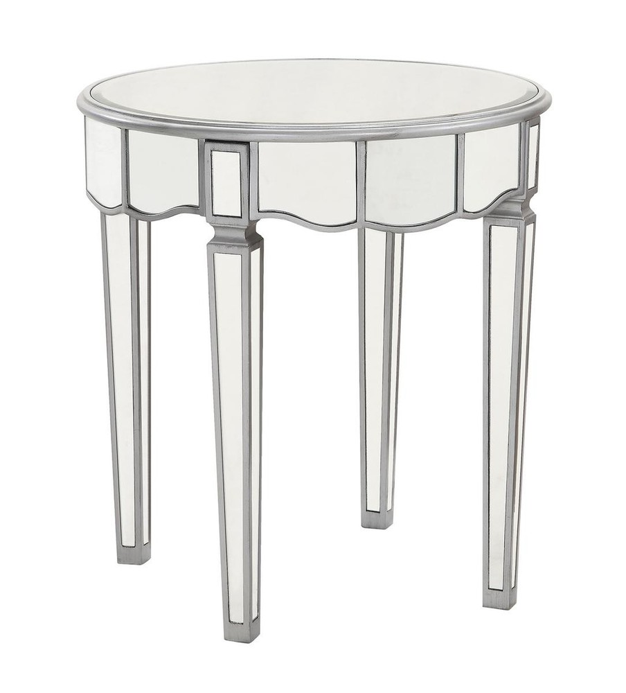 Round Lamp Table D24 in. x 26 in. in Silver paint