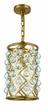 Elegant 1204D8GI/RC - 1204 Madison Collection  Pendant D:8in H:15.5in Lt:1 Golden Iron Finish (Royal Cut Crystals)