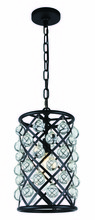 Elegant 1204D8MB/RC - 1204 Madison Collection  Pendant D:8in H:15.5in Lt:1 Matte Black Finish (Royal Cut Crystals)