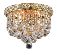 Elegant 2527F8G/RC - 2527 Tranquil Collection Flush Mount D:8in H:7in Lt:2 Gold Finish (Royal Cut Crystals)