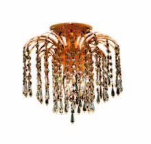 Elegant 6801F12G/EC - 6801 Falls Collection Flush Mount D:12in H:12in Lt:3 Gold Finish (Elegant Cut Crystals)