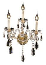 Elegant 7829W3G/RC - 7829 Alexandria Collection Wall Sconce D:13in H:18in E:8.5in Lt:3 Gold Finish (Royal Cut Crystals)