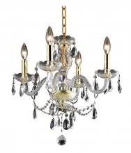 Elegant 7834D17G/RC+SH - 7834 Princeton Collection Hanging Fixture D17in H18in Lt:4 Gold Finish (Royal Cut Crystal Clear)