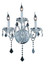 Elegant 7853W3C/EC - 7853 Verona Collection Wall Sconce D:14in H:20in E:8.5in Lt:3 Chrome Finish (Elegant Cut Crystals)