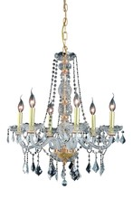 Elegant 7856D24G/RC - 7856 Verona Collection Chandelier D:24in H:28in Lt:6 Gold Finish (Royal Cut Crystals)