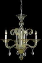 Elegant 7864D22YW/RC - 7864 Muse Collection Hanging Fixture D22in H23in Lt:4 Yellow Finish (Royal Cut Golden Shadow Crystal