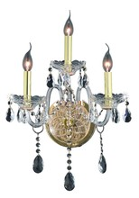 Elegant 7953W3G/EC - 7953 Verona Collection Wall Sconce D:14in H:20in E:8.5in Lt:3 Gold Finish (Elegant Cut Crystals)