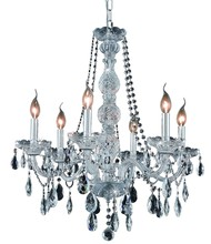 Elegant 7956D24C/RC - 7956 Verona Collection Chandelier D:24in H:28in Lt:6 Chrome Finish (Royal Cut Crystals)