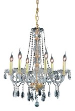 Elegant 7956D24G/RC - 7956 Verona Collection Chandelier D:24in H:28in Lt:6 Gold Finish (Royal Cut Crystals)
