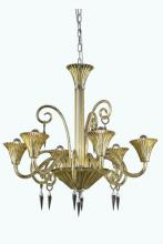 Elegant 8806D32YW/EC - 8806 Symphony Collection Hanging Fixture D32in H32in Lt:6 Yellow Finish (Elegant Cut Crystal Clear)