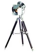 Elegant FL1201 - Ansel Tripod Collection Floor Lamp D:6.5in H:31.5in Lt:1 Chrome & Brown Finish