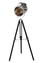 Elegant FL1204 - Ansel Tripod Collection Floor Lamp D:11in H:67in Lt:1 Chrome & Brown Finish