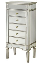 Elegant MF1-5201SC - 5 Drawer Jewelry Armoire 24 in. x 17 in. x 52 in. in Silver Leaf