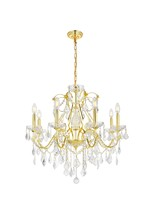 Elegant V2015D26G/EC - 2015 St. Francis Collection Chandelier D:26in H:23in Lt:8 Gold Finish (Elegant Cut Crystals)