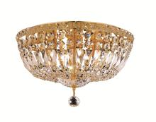 Elegant V2528F16G/RC - 2528 Tranquil Collection Flush Mount D:16in H:10in Lt:6 Gold Finish (Royal Cut Crystals)