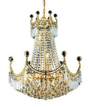 Elegant V8949D20G/RC - 8949 Corona Collection Chandelier D:20in H:28in Lt:9 Gold Finish (Royal Cut Crystals)