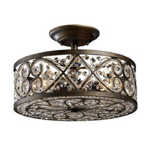 ELK Lighting 11286/4 - Amherst 4-Light Semi Flush in Antique Bronze with Clear Crystal and Beaded Glass Diffuser
