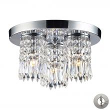 ELK Lighting 1990/3-LA - Optix 3-Light Semi Flush in Polished Chrome with 32% Lead Crystal - Includes Adapter Kit