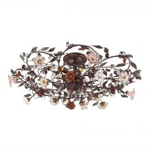 ELK Lighting 7047/6 - Cristallo Fiore 6 Light Flushmount In Deep Rust